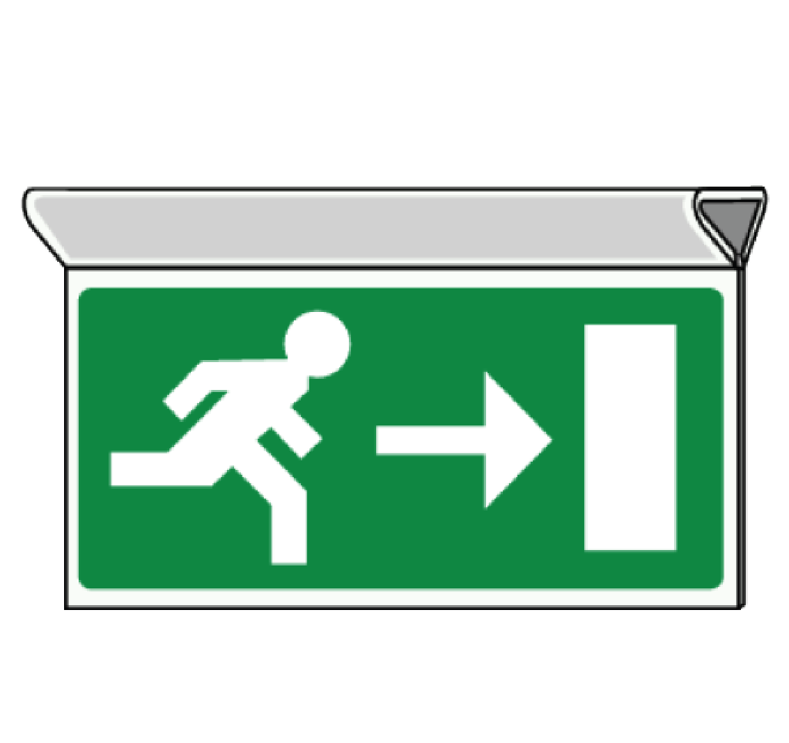 pictogramme evacuation suspendu